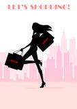 Sexy het winkelen meisjessilhouet Stock Foto's