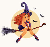 Sexy Hexe Halloweens, Vektor Lizenzfreie Stockfotografie