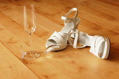 Sexy high heel and champagne glass Royalty Free Stock Images