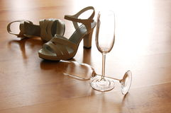 Sexy high heel and champagne glass Stock Photo