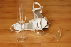 Sexy high heel and champagne glass Royalty Free Stock Photos