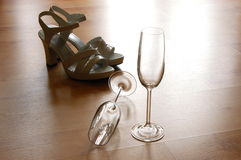 Sexy high heel and champagne glass Stock Images