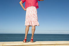 Sexy high heel legs isolated ocean background Royalty Free Stock Photos