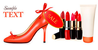 Sexy high heel shoe and group of lipsticks. Vector Royalty Free Stock Photo