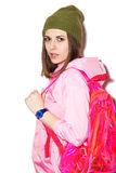 Sexy hipster girl with a pink backpack Stock Photos