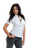 Sexy hispanic woman with her thumb in her pocket Royalty Free Stock Image