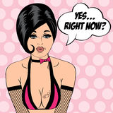 Sexy horny woman in comic style, xxx illustration Royalty Free Stock Photos