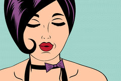 Sexy horny woman in comic style, xxx illustration Royalty Free Stock Photo