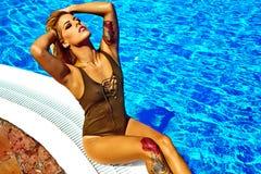 Sexy hot beautiful girl blonde model in swimwear Royalty Free Stock Photography