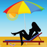 Sexy and hot girl on the beach vector Stock Photography