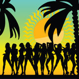 and hot girls and palms vector silhouette ilustration vector illustration