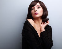 Sexy hot makeup woman with short hairstyle posing Stock Image