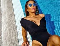 Sexy hot model in bikini on beach swimwear Royalty Free Stock Photos