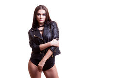 Sexy hot woman in body and leather jacket over white background Stock Images