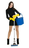 Sexy housewife. In elegant dress holding a swab and bucket, white background Stock Photo