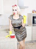 Sexy housewife. In the kitchen Royalty Free Stock Image