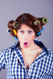 Housewife with curlers. pin up portrait. Portrait of housewife with curlers. pin up model royalty free stock images