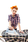 Sexy housewife ironing Royalty Free Stock Image