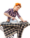Sexy housewife ironing Royalty Free Stock Images