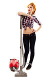 Sexy housewife with the vacuum cleaner Stock Image
