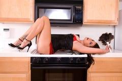 Sexy huisvrouw. royalty-vrije stock fotografie