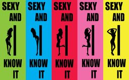 Sexy and i know it background design 2. Words called sexy and i know it with striptease in multicolored background Stock Photos