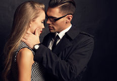 Sexy impassioned couple.office love story Stock Photos
