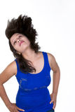 Sexy indian girl flipping her hair upwards isolated against whit Royalty Free Stock Images
