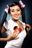 Sexy japanese woman with heart shape Royalty Free Stock Photo