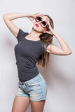 Sexy jong meisje in denim royalty-vrije stock fotografie