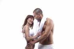 Sexy jong paar in wit royalty-vrije stock fotografie