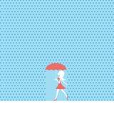 Sexy jong vrouw of meisje die in de zomerregen lopen met rode kleding en paraplu vector illustratie