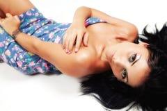 Sexy jonge donkerbruine sensuele vrouw Stock Fotografie