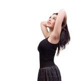 jonge donkerbruine vrouw die op wit wordt geïsoleerdn Royalty-vrije Stock Foto's