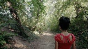 Sexy jonge vrouw die op een weg in het hout lopen stock videobeelden