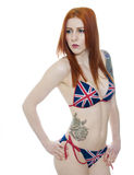 Sexy Jonge Vrouw in een Unie Jack Bikini Royalty-vrije Stock Fotografie