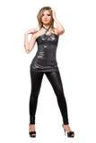Sexy jonge vrouw in een zilveren kleding stock afbeelding