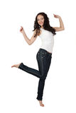Sexy jonge vrouw in jeans. Royalty-vrije Stock Afbeelding