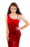 Sexy jonge vrouw in rode kleding Stock Foto's