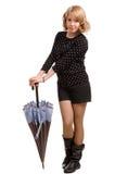 Sexy junge Blondine mit einem Regenschirm Lizenzfreie Stockfotos