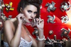 Sexy junge Frauen mit den roten Lippen lizenzfreie stockfotografie