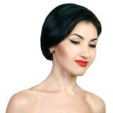 Sexy kaukasische junge Frau mit schwarzen Streifen Stockfoto