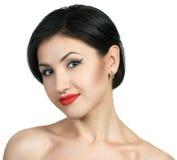 Sexy kaukasische junge Frau mit schwarzen Streifen Stockfotos