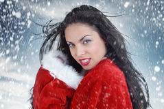 Sexy Kerstman en sneeuwstorm Stock Foto's