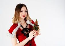 Sexy Kerstmanmeisje Stock Afbeeldingen
