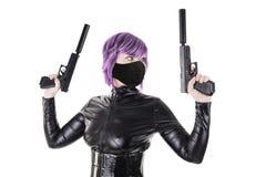 Sexy killer ready to shoot Royalty Free Stock Photo