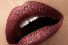 Sexy kiss. Fashion vinous lips glossy make-up. Sexy kiss. Glamour fashion dark vinous lips glossy make-up. Macro shoot Royalty Free Stock Photos