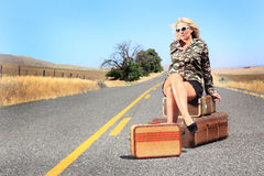 Sexy Lady With Baggage Stock Images