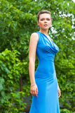 Sexy lady in blue dress Royalty Free Stock Photo