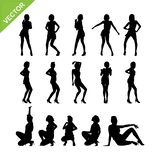 Sexy lady and dancing silhouettes vector set 9 Royalty Free Stock Images